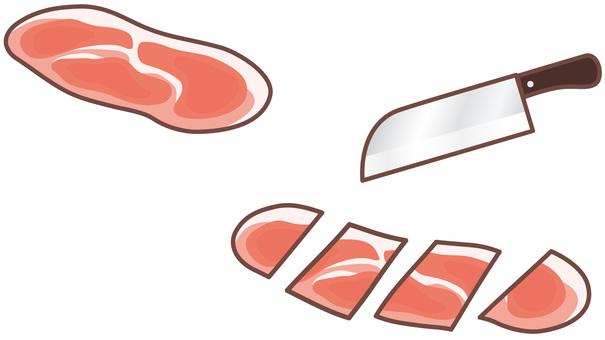 돼지 고기 조각을 자른다