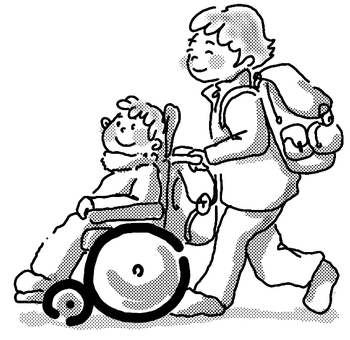 Wheelchair walk winter black and white