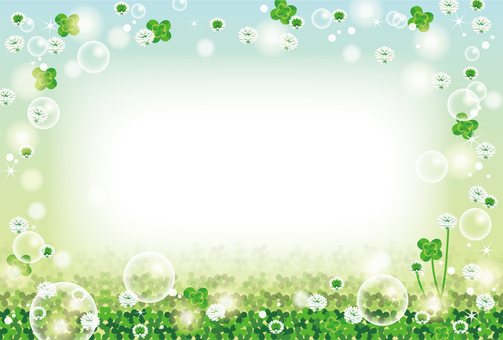 Clover and soap bubble background frame