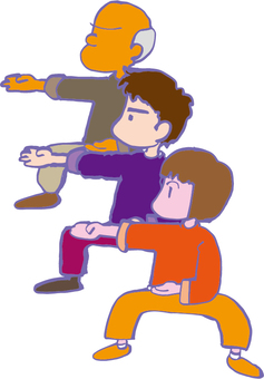 Three people playing Tai Chi