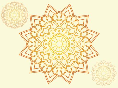Orange gradation Mandala flower 03