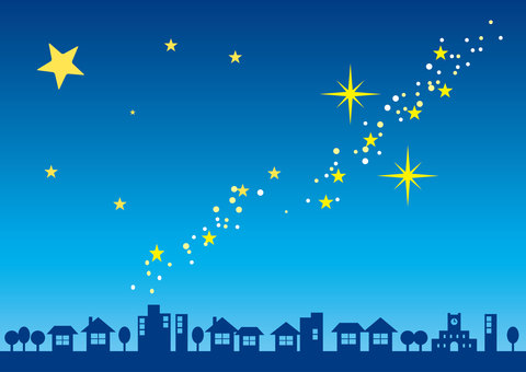 Starry sky and city