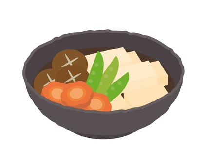 配菜高野煮豆腐