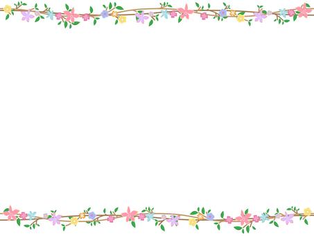 与树,叶子和花的框架2