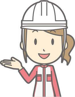 Mechanic woman - helmet white - bust
