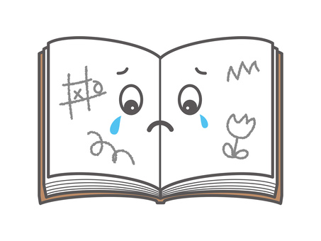 Book character crying being doodle