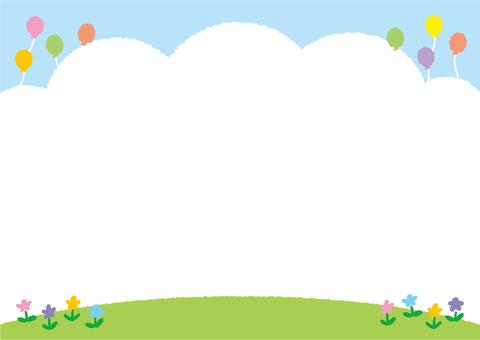 배경 (푸른 하늘과 잔디와 공원의 꽃)