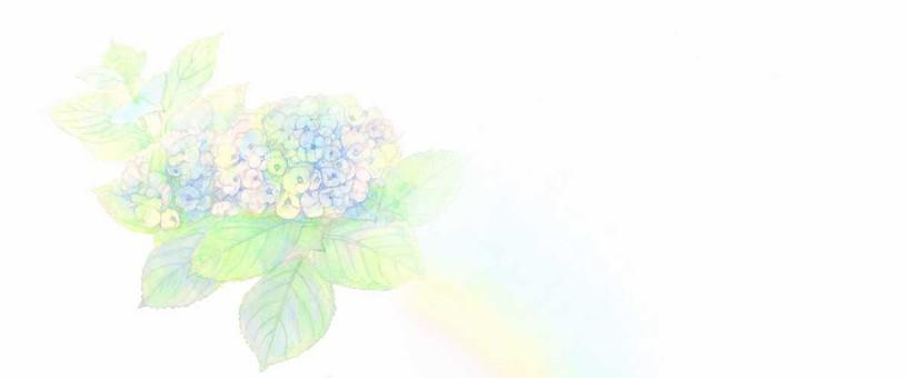 【Handwriting】 hydrangea and rainbow (header / wallpaper)