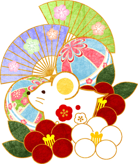 Japanese-style congratulatory material of the year of the Japanese paper watercolor wind child