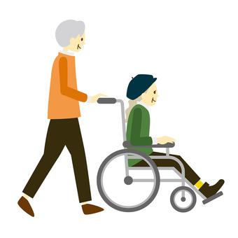 Senior couple in wheelchair