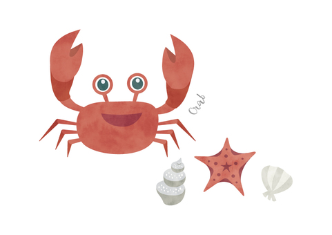 Crab watercolor animal illustration material 010