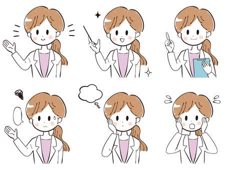 Hand-drawn woman in white coat facial expression illustration set