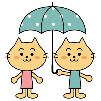 Couple of cats holding an umbrella