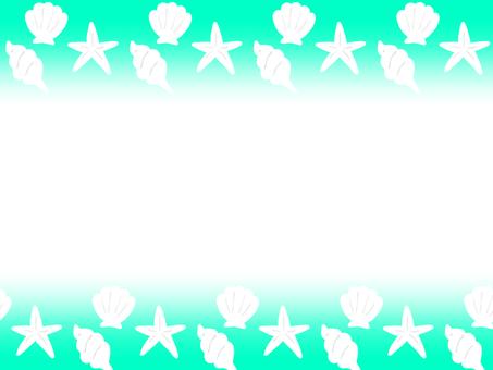 Seashell shell frame blue green