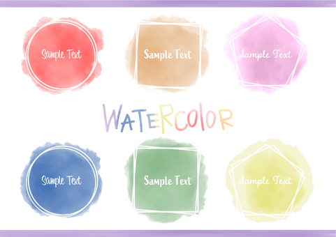 Watercolor frame and heading set
