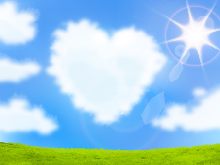 Heart shaped clouds and blue sky, green and summer sun - Iraire