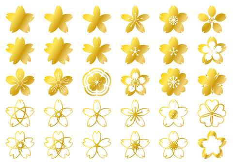 Golden cherry blossom petite - cute Japanese style transparent png
