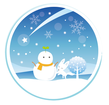 Winter landscape of snowman and white fox (circle)