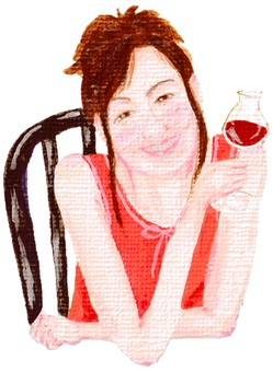 Woman with glass of red wine sitting on chair
