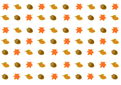 Fallen leaves and acorn background