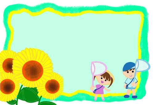 Frame summer vacation sunflower children