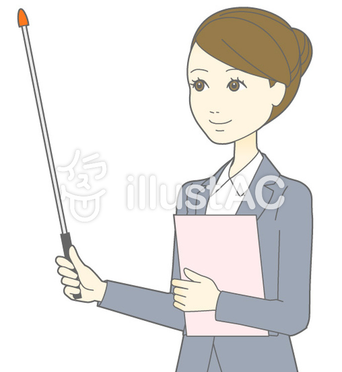 D女性スーツ-指示棒3横視線-斜めバストのイラスト