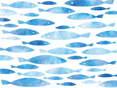 수채화 풍의 작은 물고기 물고기 일러스트