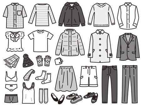 衣料品 夏冬 セット 白黒
