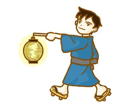 A lantern with a yukata male.