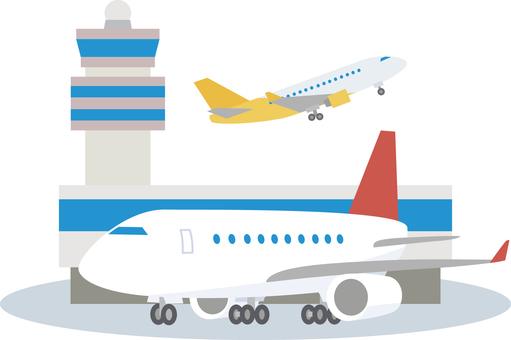 空港のターミナルビルと旅客機