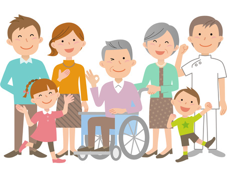61013. Wheelchair, Family and Caregiver 1