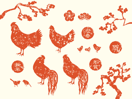 Rooster New Year's cards Hanko style material Red