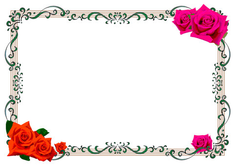 Red and pink rose frame