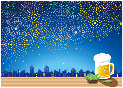 Fireworks of the night sky and beer (sideways)