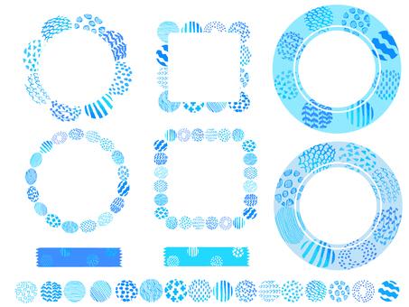 北欧風の丸のフレームセット ブルー