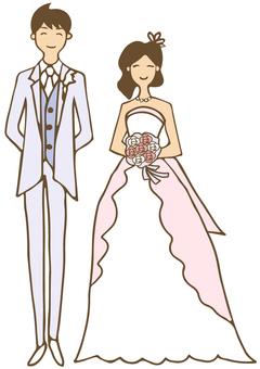 Married bride and groom
