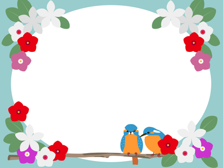 Tropical flowers and birds frame