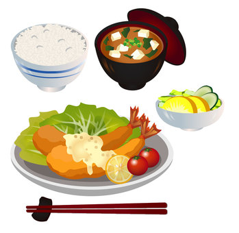 Shrimp dish set meal