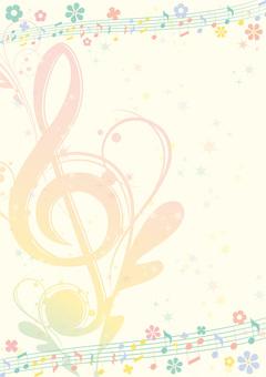 부활절 색상의 우아한 음악 프레임 높이