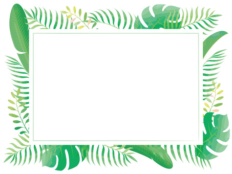 Tropical square frame 01 watercolor style