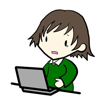 Woman using a crying computer