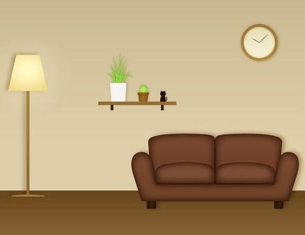 Interior _ room _ brown sofa