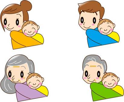 Baby's piggyback (father, mother, grandfather, grandmother)