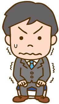 A man nervous at a job interview