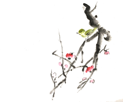 Ink painting series warbler and plum