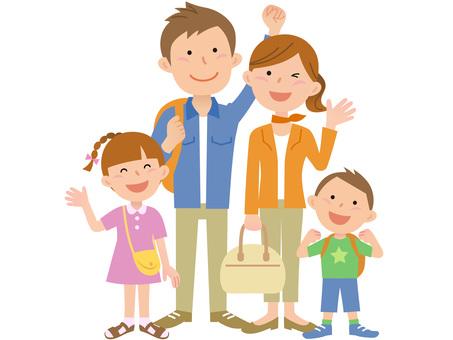 Travel, family of four 3