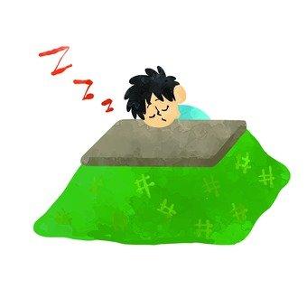 A man sleeping in a kotatsu