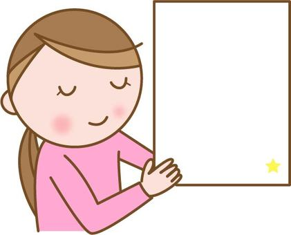 Woman with white board
