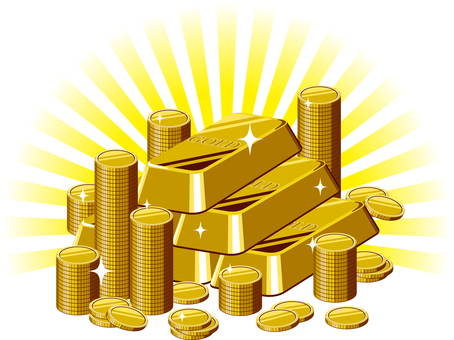 Gold bullion and gold coins