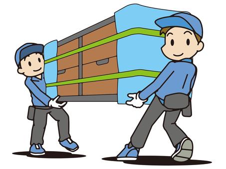 家具を運ぶ引越し業者